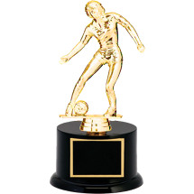 "Soccer Trophy - 9 1/2"" Black Acrylic Trophy with Female Soccer Figure"