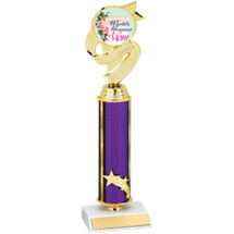 "12 1/2"" Large World's Greatest Mom Purple Star Column Trophy"