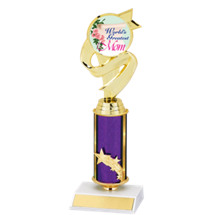 "10 1/2"" Small World's Greatest Mom Purple Star Column Trophy"