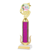 "12 1/2"" World's Greatest Mom Trophy with Holographic Pink Column"