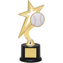 "Baseball Trophy - 9"" Gold Star with Black Acrylic Base"