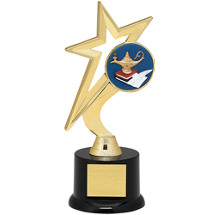 "Education Trophy - 9"" Gold Star with Black Acrylic Base"