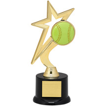 "Softball Trophy - 9"" Gold Star with Black Acrylic Base"