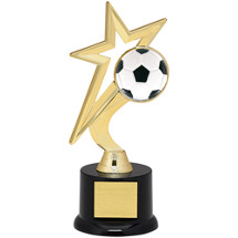"Soccer Trophy - 9"" Gold Star with Black Acrylic Base"