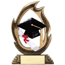 Graduate Resin Flame Cut-Out Trophy - 7 1/4""