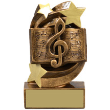 "Music Trophy - 5 1/4"" Academic Star Swirl Resin Trophy"