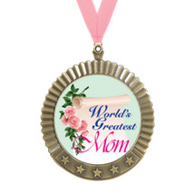 "2 3/4"" World's Greatest Mom ""Stars Medal with Pink Neck Ribbon"