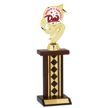 """11"""" World's Greatest Dad Diamond Walnut-Tone Trophy"""