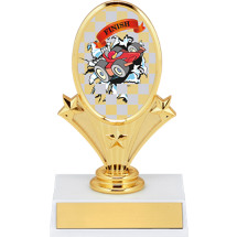 "5 3/4"" Pinewood Derby Oval Riser Trophy"