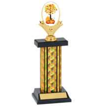 "12-14"" Black & Gold Fall Festival Trophy with Rectangular Column"