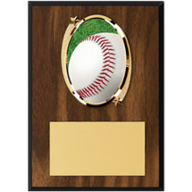 "Baseball Plaque - 5 x 7"" Oval Emblem Plaque"