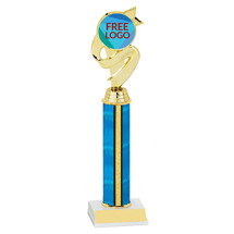 "10"" Blue Trophy with Free Custom Logo Emblem"