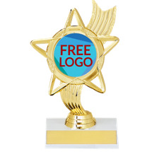 "6 1/4"" Holographic Star Award with Free Custom Logo Emblem"