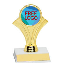 "5 1/2"" Fan Trophy with Free Custom Logo Emblem"