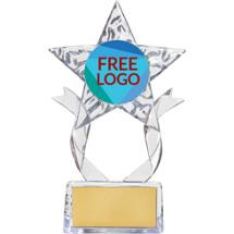"""7 1/2"""" Clear Acrylic Star Free Custom Logo Emblem Trophy"""