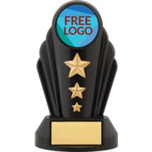 """7"""" Silhouette Black Acrylic Free Custom Logo Emblem Trophy"""