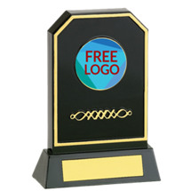 "6 3/4"" Black Acrylic Silhouette Trophy with Free Custom Logo Emblem Trophy"
