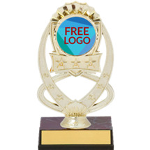 "7"" Gold Oval Star Trophy with Free Custom Logo Emblem"