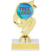 "5 1/2"" Trophy with Ribbon Design and a Free Custom Logo Emblem"