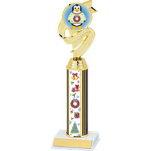 Colorful Christmas Trophy with Festive Penguin