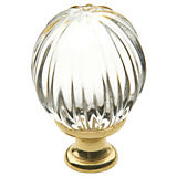 Baldwin Crystal and Brass Round Knob 1.19""