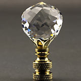 Finial Showcase Polished Brass Faceted Crystal 30MM Ball Finial
