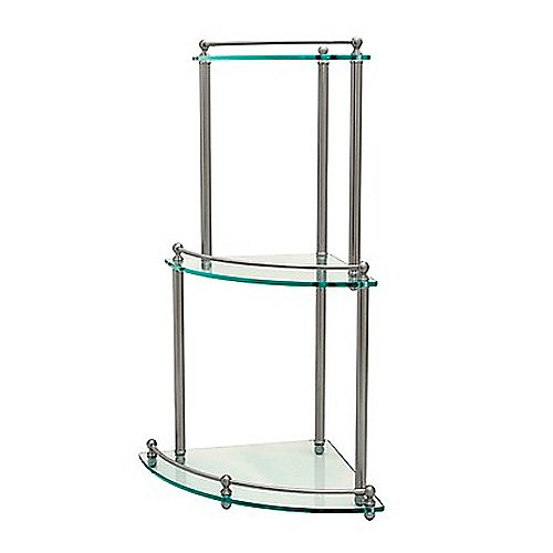 Corner 3-Tier Glass Shelf, Satin Nickel