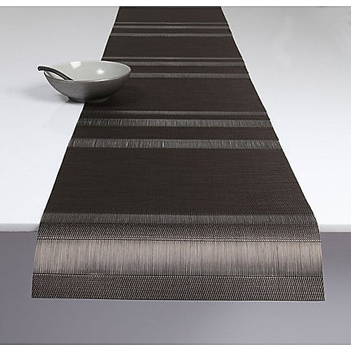 "Chilewich Tuxedo Stripe Sable 77"" Runner"