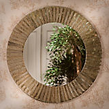 Dessau Brass Faceted Round Mirror