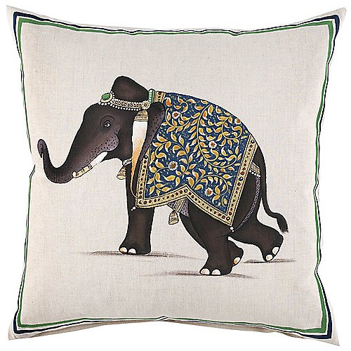 John Robshaw Handpainted Indian Elephant Pillow