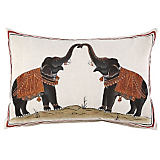 John Robshaw Handpainted Two Elephants Pillow