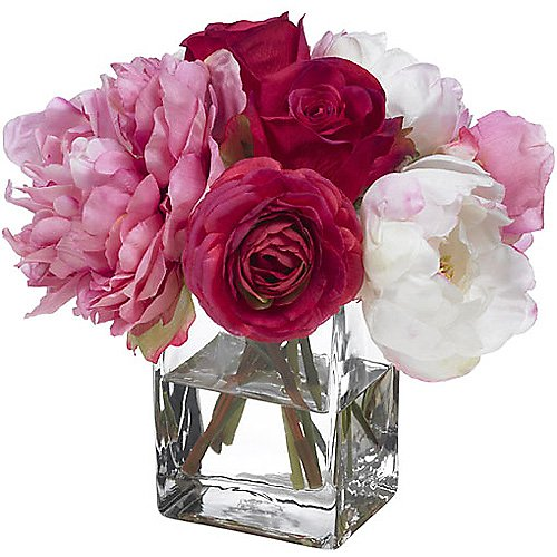 Diane James Peony and Rose Bouquet in Glass Vase