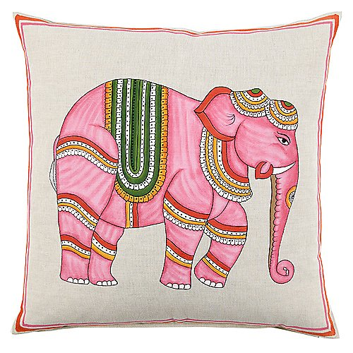 John Robshaw Pink Elephant Pillow