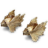L'Objet Fish Gold Salt and Pepper Shakers