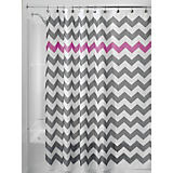 Gray and Orchid Chevron Shower Curtain