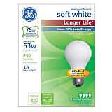 GE 53W A19/E26 General Energy Efficient Long Life Halogen Bulb Soft White, 4 Pack