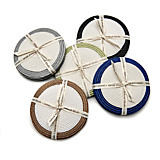 Deborah Rhodes Silver/Dust Border Round Coasters - Set of 4