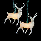 White Glittered Reindeer Light Set