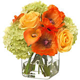 Diane James Poppy & Rose Bouquet in Glass Cube