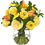Diane James Mixed Summer Bouquet with Leaves in Glass Vase