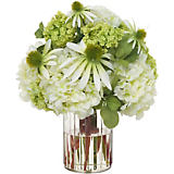 Diane James Daisy, Hydrangea & Snowball Bouquet in Glass Jar