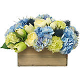 Diane James Mixed Blue & Green Bouquet in Wood Planter
