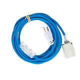 Color Cord Company Blue Cord Pendant with Porcelain Socket