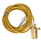 Color Cord Company Brass Cord Pendant with Brass Socket