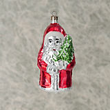 Nostalgie Santa In Red With Tree Ornament