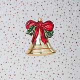 Glaspol Bell with Bow and Holly Ornament