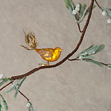 Christborn Gold with Tinsel Bird Clip Ornament