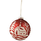 Bethany Lowe Designs Church Scene Red Ball Ornament