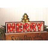 "Bethany Lowe Designs ""MERRY"" with Tree Marquee Sign"