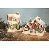 Bethany Lowe Designs Red & Green Large Vintage Houses - Set of 2